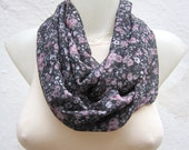 Chiffon infinity scarf, Loop Scarves, Circle Women Accessories, Neckwarmer, Flower Print, Fabric Tube Scarf, Black Grey Pink