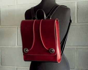 Oxblood burgundy backpack, red backpack purse  - the Raya bag