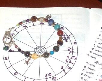 Custom Zodiac Bracelet, Personalized Natal Star Chart in Semi Precious Stone, Astrology Bracelet, with Custom Handwritten Horoscope Analysis