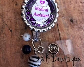 Medical Assistant ...retractable badge reel...Purple