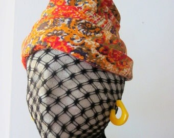 vintage print hat / womens 1960s paisley / vintage turban hat