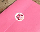Pink Owl Stickers, Envelope Sealers, Wedding, Birthday, Baby Shower, Party, Invitation, Scrap booking