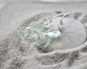 Seaglass and Pearl Earrings - Aqua Blue Seaglass with Sterling Silver