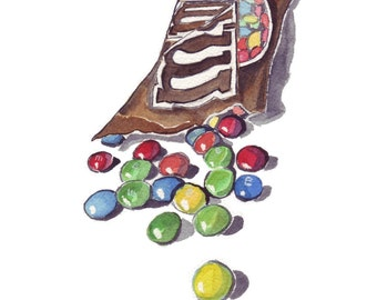 Watercolor Painting - M and Ms Candy Watercolor Art Print, 8x10