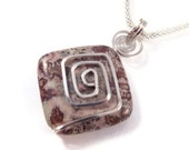 Zen Stone Pendant Necklace, Sterling Silver Wire Wrapped Square Spiral, Natural Square Cut Paintbrush Jasper Stone
