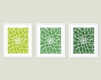 Dahlia Flower No.2  Digital Print Set - Art Wall - Modern Home Decor - Emerald Green