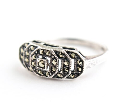 vintage sterling silver marcasite ring retro by maejeanvintage