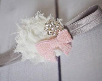 Girls Headband, Pink and Grey Headband, Toddler Headband, Flower Girl Hair Band, Spring Headband, Newborn Headband, Newborn Photo Prop