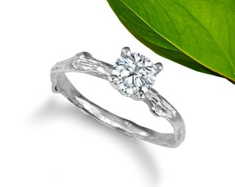 Moissanite twig engagement ring, 5mm round center stone, Diamond alternative
