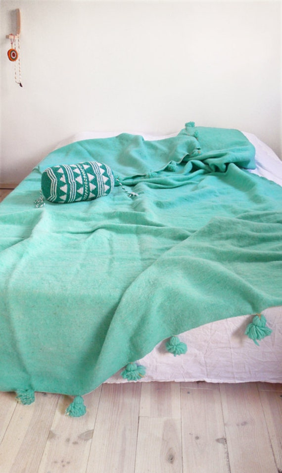 Cot In A Box Morocco Turquoise: Moroccan POM POM Wool Blanket Turquoise