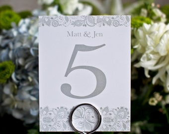 Wedding Table Numbers Lace Floral Sign Vintage Custom Customize  Simple Elegant Bride Groom Names