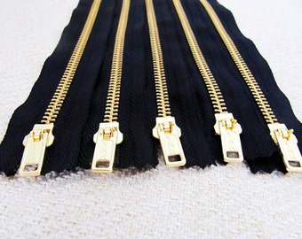 8inch - Black Metal Zipper - Gold Teeth - 5pcs