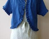 SUMMER SALE! Women's Ruffle Bolero Jacket Shrug, Teal/Dark Turquoise, Size Medium/Large--Ready to Ship, Handmade and Ecofriendly