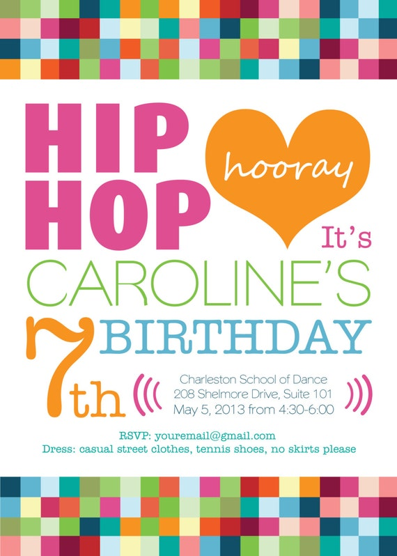 Printable or Emailable Girls Hip Hop Dance Birthday Party Invitation