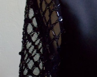 """Vintage Jessica Howard Long Black Dress with Lace Sleeves Embellished with Sequins Plus Seed & Bugle Beads Bust 36"""" Waist 34"""""""