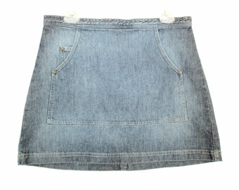 90's High Rise denim mini skirt size - L
