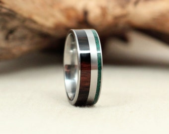Malaysian Blackwood Wooden Ring and Malachite Deconstructed Titanium Ring