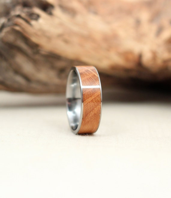 Wooden Ring With Bourbon Barrel American White Oak Lined With Titanium