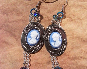 Silver and Blue Sweet Lady Cameo Earrings