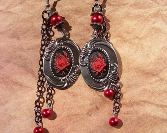Gunmetal Roses - Red and Black Rose Cameo Earrings