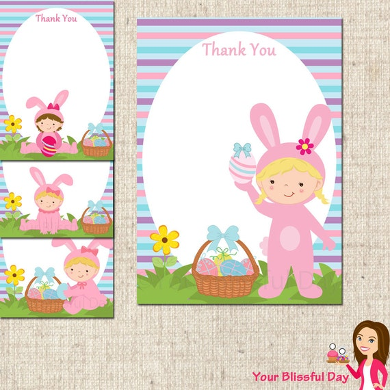 printable girl easter bunny thank you cards by yourblissfulday