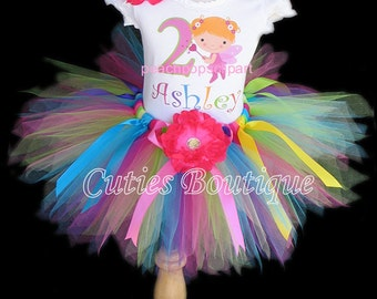 Rainbow Fairy Princess Birthday Outfit Set With Tutu And Personalized Shirt --All Sizes 6 9 12 18 24 Months 2T 3T 4T