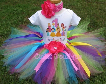 Rainbow Princess And Friends Birthday Outfit Set With Tutu And Personalized Shirt --All Sizes 6 9 12 18 24 Months 2T 3T 4T
