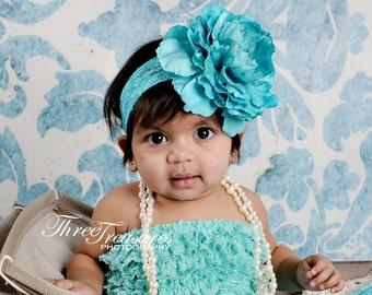 Vintage inspired turquoise flower headband,turquoise peony headband, large flower headband, turquoise baby headband,flower girl headband