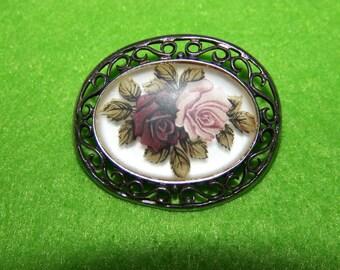 Lovely Rose Flower Brooch Sterling Silver