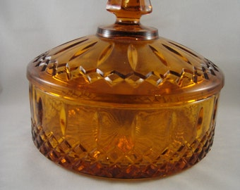 Amber Gold Covered Glass Dish