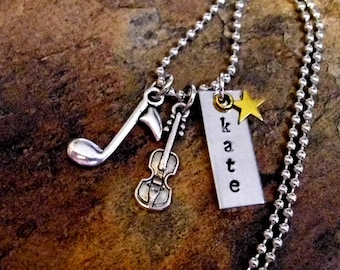 Personalized Musical Note Necklace, Violin Necklace, Music Necklace, Hand Stamped Jewelry, Violin Jewelry