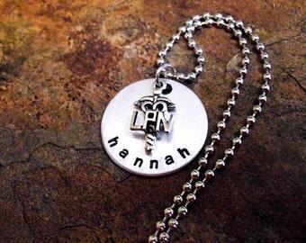 Personalized LPN Jewelry, Nurse Jewelry, Nurse Necklace, Personalized Jewelry, LPN Necklace, Medical Necklace, Hand Stamped Jewelry