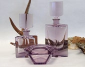 Fine and Rare 3 piece ART DECO Dresser Set in Alexandrite PURPLE Glass with Perfumes and Covered Powder Dish