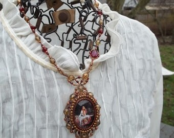 Lady of Shalott -- Original one of a kind beadwoven necklace with art cabochon