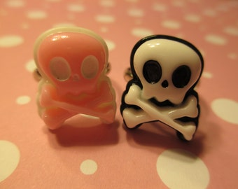 Skull and Crossbone Ring - pick a color - Pink Black n White - Adjustable Band Ring