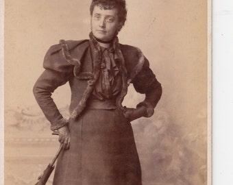 Vintage Photo, Antique Cabinet Photo, Elegant Woman, Feather and Net Hat, Black & White Photo, Victorian Photo, Studio Portrait