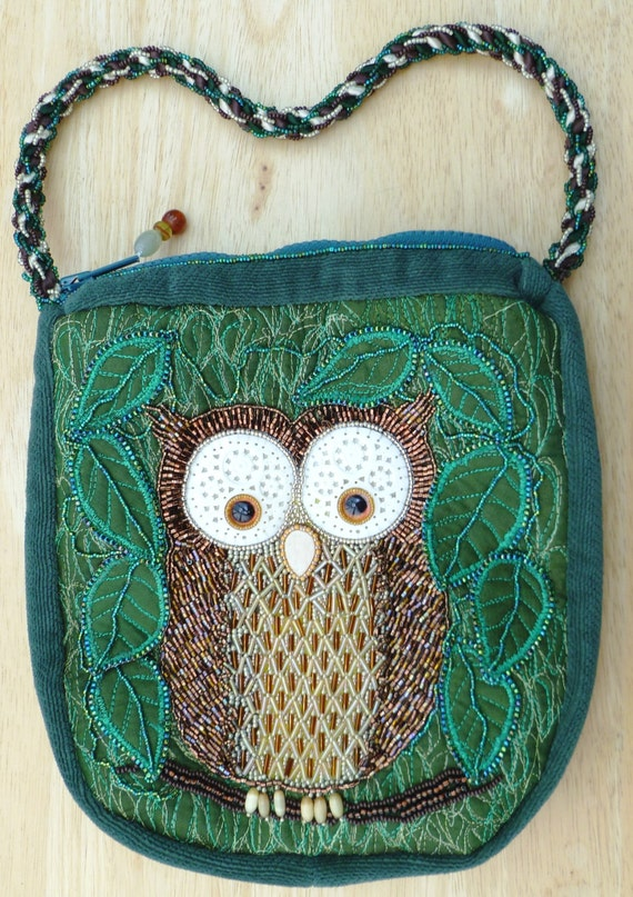 Sale owl bag with thread and bead embroidery