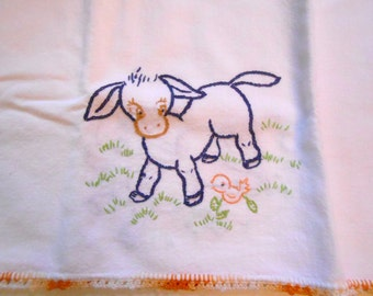 Vintage Embroidered Linen, Lambs