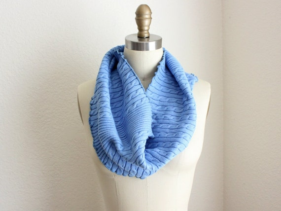 Upcycled Tube Cowl,  Bleu de France Cable Knit