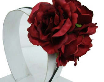 Silk  Rose Flower Headband Bridal Wedding choose color