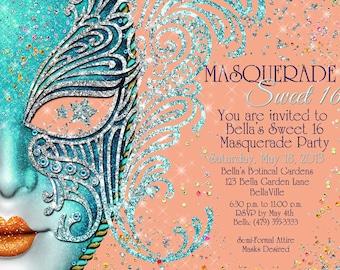 Masquerade Party, Masquerade Invitation, Mardi Gras Party, Sweet 16 Masquerade
