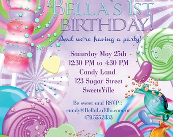 CandyLand Birthday Party Invitation, Party Invitations, Candy Party Invitations, Candy Theme Party, Candy Birthday Party
