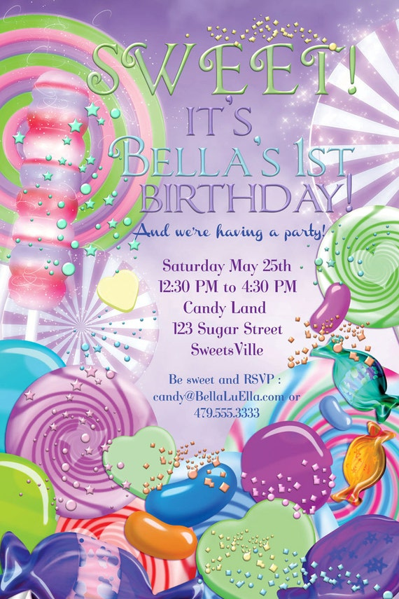 candyland birthday party invitation party invitations candy, Birthday invitations