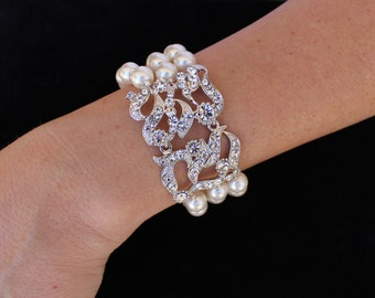 Pearl Bridal Bracelet, Deco Pearl Bridal Cuff, Wedding Jewelry, Bridal Jewelry, Bridal Accessories, Bridesmaid Bracelet,  NES