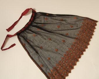 Czech Folk Apron Black Netting Orange Embroidered Folk Costume 1910's or Earlier
