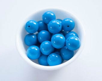 Blue Solid 20mm Beads - Chunky Necklace Beads 10 ct - 20mm Chunky Beads