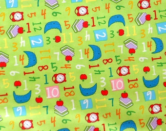 Children's Fabric , Numbers Fabric , Green Pixie Pops fabric , Cotton Material Timeless Treasures