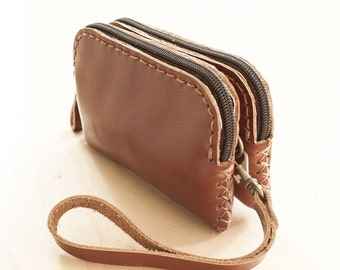 SALE, Zippered Leather Pouch in Brown