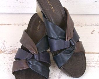 Black and brown strappy leather open toe vintage wedge mule sandals/woven braided leather wedge sandal/9