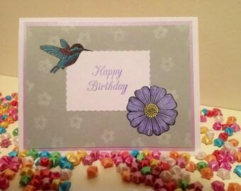 Hummingbird Flower Birthday card